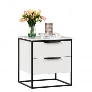 Nočný stolík Caroline - biela/čierna