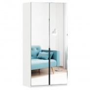 Šatníková skriňa so zrkadlom Caroline 2D - biela