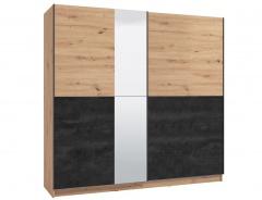 Skriňa s posuvnými dverami a zrkadlom Ticiano 220 - dub artisan/čierna