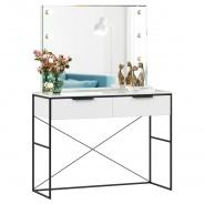 Toaletný stolík so zrkadlom Caroline - biela/čierna