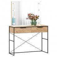 Toaletný stolík so zrkadlom Caroline - dub zlatý/čierna