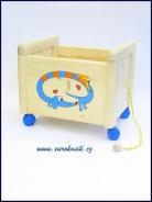 Dřevěný box na hračky Box na hračky Jezevčík modrý
