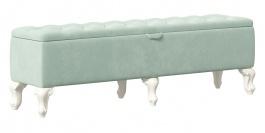 Čalúnený taburet s úložným priestorom Margaret - mintová/alabaster