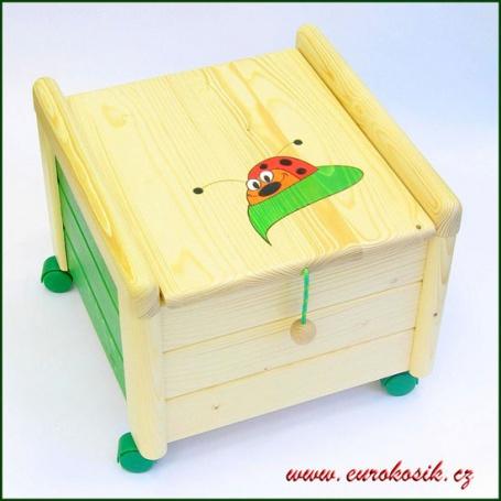 Dřevěný Box na hračky s víkem Beruška