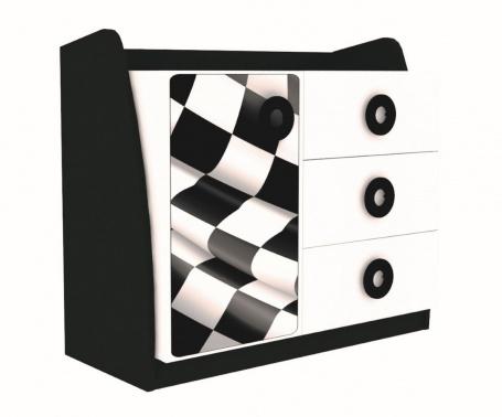 Detská komoda Racer - biela/čierna