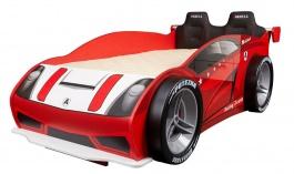 Posteľ Auto Racer 80x160 se 4 koly a čelom - červená