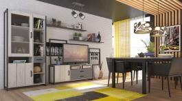Obývacia zostava Robin - dub craft biely/čierna