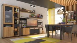 Obývacia zostava Robin - dub zlatý/čierna
