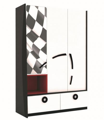 Kombinovaná šatníková skriňa Racer - biela/čierna/červená