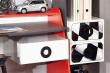 Regál so zásuvkami Racer - červená/biela/rock