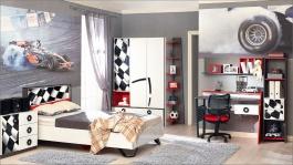 Detská izba Racer - biela/červená/čierna