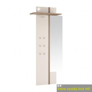 Vešiakový panel so zrkadlom, biely extra vysoký lesk, LYNATET TYP 115