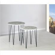 Set 2 konferenčných stolíkov, vzor biely mramor / čierny kov, PAROS