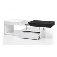 Konferenčný stolík, biely lesk / čierny, MELIDA