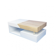 Konferenčný stolík, biely lesk / dub sonoma, MELIDA