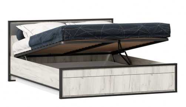 Posteľ s úložným priestorom 160x200cm Robin - dub craft biely/šedá/čierna