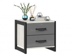 Nočný stolík Robin - dub craft biely/šedá/čierna