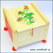 Dřevěný box na hračky s víkem Tráva