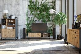Obývaci komplet Trevor - dub wotan/šedá