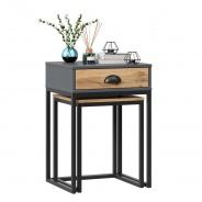 Stolík s taburetom Trevor - dub wotan/šedá