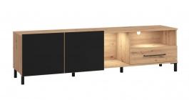 TV stolík Nibiru 180cm s osvětlení - dub artisan/čierna