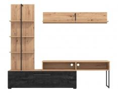 Obývacia stena Atrej - dub artisan/čierna