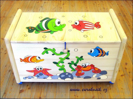 Dřevěná truhla na hračky Vodní svět