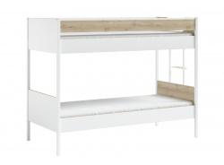 Poschodová posteľ 90x200cm Dylan - biela/dub svetlý