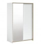Šatníková skriňa s posuvnými dverami a zrkadlom Dylan - biela/dub svetlý