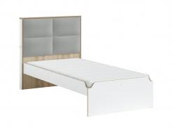 Študentská posteľ s čalúneným čelom 100x200cm Dylan - biela/dub svetlý