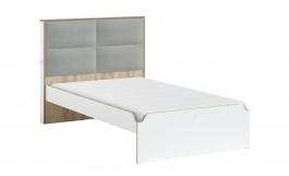 Študentská posteľ s čalúneným čelom 120x200cm Dylan - biela/dub svetlý