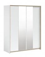Veľká šatníková skriňa s posuvnými dverami a zrkadlom Dylan - biela/dub svetlý