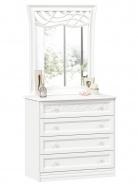 Komoda s dekorovaným zrkadlom Ofélie - biela