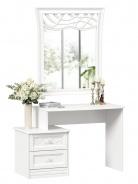 Toaletný stolík s dekorovaným zrkadlom Ofélie - biela