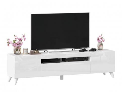 TV stolík s nohami 180cm Drax - biely lesk