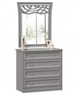 Komoda s dekorovaným zrkadlom Ofélie - šedá