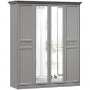 Široká šatníková skriňa so zrkadlom Ofélie - šedá