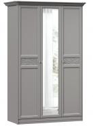 Šatníková skriňa so zrkadlom Ofélie - šedá