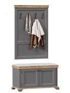 Vešiakový panel s botníkom - šedá/dub tortuga