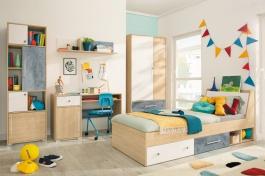 Dětská izba II Barney - dub/šedá/biela