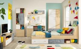 Detská izba I Barney - dub/šedá/biela