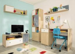 Dětská izba III Barney - dub/šedá/biela
