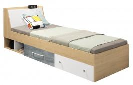 Detská posteľ 90x200cm Barney - dub/šedá/biela