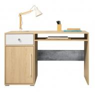 Písací stôl Barney - dub/šedá/biela