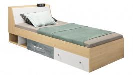 Študentská posteľ 120x200cm Barney - dub/šedá/biela