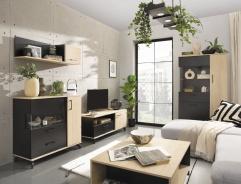 Obývací komplet Otis - dub/čierna