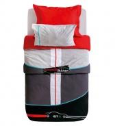 Set posteľnej bielizne Rally 160x216cm -  červená/čierna/šedá