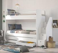 Poschodová posteľ s úložným priestorom a schodíky Pure - biela