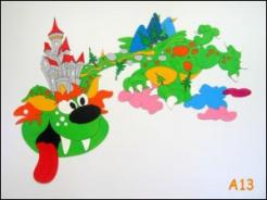 Dekorace na zeď drak s hradem 135x90cm