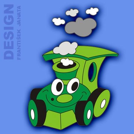 Dekorace na zeď mašinka zelená 55x50cm
